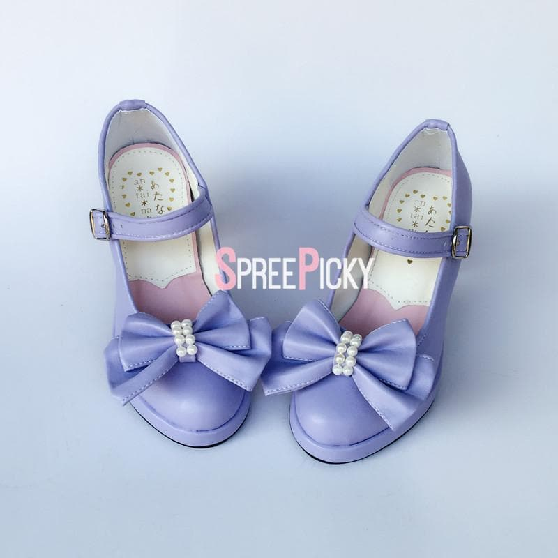 Lilac Dolly Ribbon Pearl Shoes SP1710202