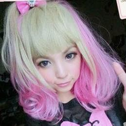 Lolita Harajuku Pink/Yellow Mixed Air Bobo Wig SP151679 - SpreePicky  - 1