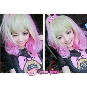 Lolita Harajuku Pink/Yellow Mixed Air Bobo Wig SP151679 - SpreePicky  - 2