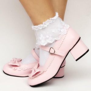 Lolita Baby Pink Low Heels Custom Made Shoes SP168003