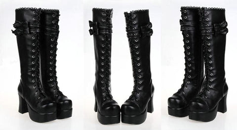 Lolita Gothic Punk Bow High Heel Boots SP151727