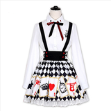 Lolita Harajuku Alice Embroidered Shirt Poker Cards Printed Strap Dress SP179219