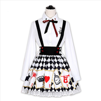 2d82a2958b045e Lolita Harajuku Alice Embroidered Shirt Poker Cards Printed Strap Dress  SP179219