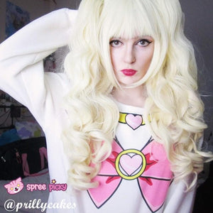 Lolita Harajuku Cosplay Light Gold Wig with 2 Pony Tails 3 Pieces Set SP130184 - SpreePicky  - 2