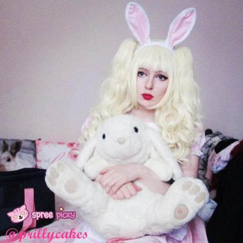 Lolita Harajuku Cosplay Light Gold Wig with 2 Pony Tails 3 Pieces Set SP130184 - SpreePicky  - 4