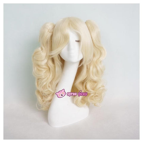 Lolita Harajuku Cosplay Light Gold Wig with 2 Pony Tails 3 Pieces Set SP130184 - SpreePicky  - 1