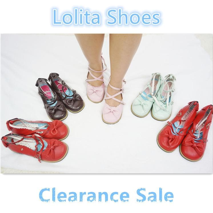 {Clearance}Lolita Low Heel Bow Shoes Special Sales SP141006 - SpreePicky