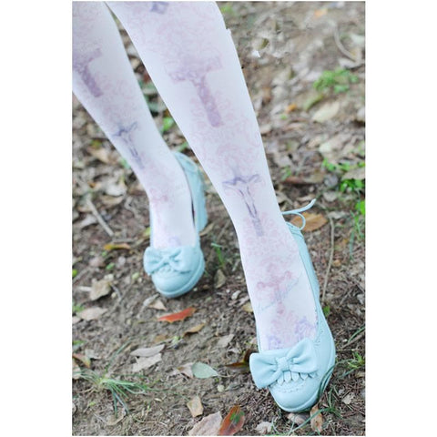 Lolita Pastel Cute Angels Crosses Printing Tights SP130266 - SpreePicky  - 3