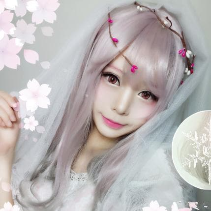 Lolita Pink Mix Gray Long Hair Wig SP166843