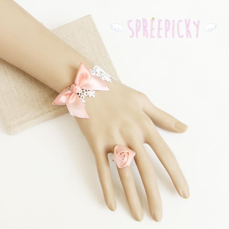 Lolita Pinky Bowknot Lace Bracelet And Rose Adjustable Ring Accessories Set SP140845 - SpreePicky  - 1