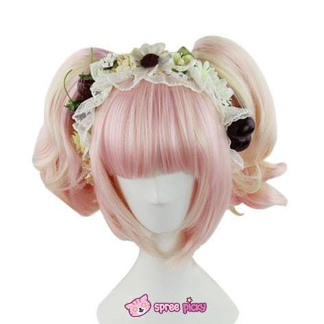 Lolita Sakura Pink and Pale Gold Mixed Color Wig with 2 Pony Tails 3 Pieces Set SP152073