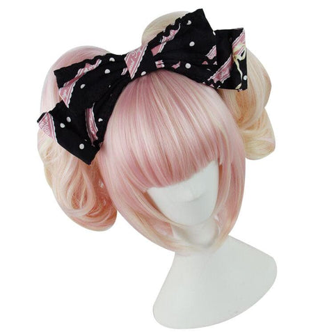 Lolita Sakura Pink and Pale Gold Mixed Color Wig with 2 Pony Tails 3 Pieces Set SP152073 - SpreePicky  - 3
