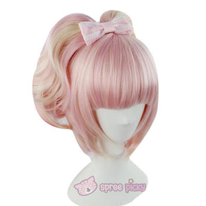 Lolita Sakura Pink and Pale Gold Mixed Color Wig with 2 Pony Tails 3 Pieces Set SP152073 - SpreePicky  - 2