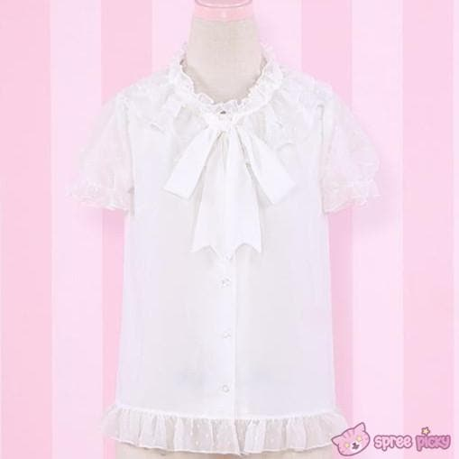 S/L Lolita White Color Sweet Little Dots Bottoming Shirt Blouse SP152077 - SpreePicky  - 1