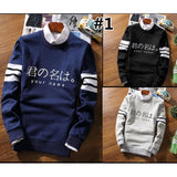 M-2XL Black/Navy/Grey Your Name Pullover Jumper SP168566