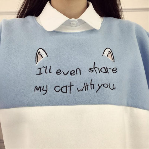 M-2XL Blue/Pink Share My Cat With You Hoodie Jumper SP178764