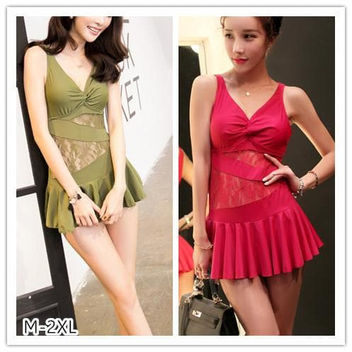 M-2XL Hot Pink/Green Lace Elegant Swimwear Dress SP152531 - SpreePicky  - 1