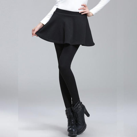 M-3XL 4 Colors Lady Warming Fleece Pantskirt SP168361