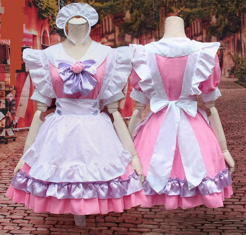 M-L Pinky Candy Neko Cat Maid Dress  Cosplay Costume SP153589 - SpreePicky  - 4