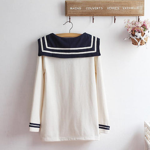 M-XL Beige/Navy Long Sleeve Sailor Top with Skirt Uniform Set SP153608 - SpreePicky  - 7