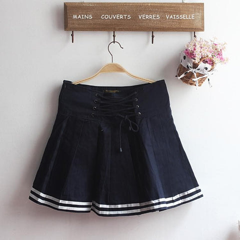 M-XL Beige/Navy Long Sleeve Sailor Top with Skirt Uniform Set SP153608