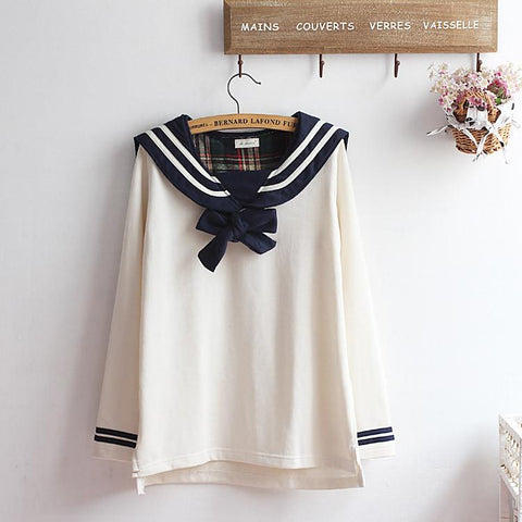 M-XL Beige/Navy Long Sleeve Sailor Top with Skirt Uniform Set SP153608 - SpreePicky  - 6