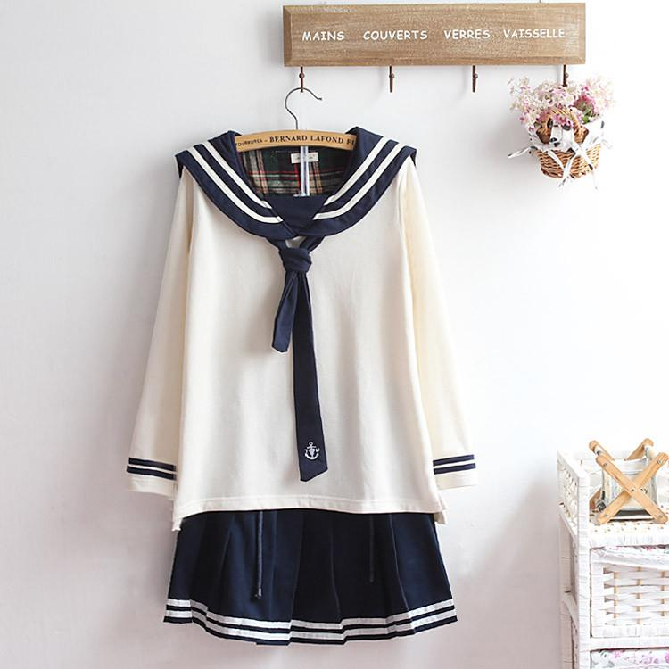 M-XL Beige/Navy Long Sleeve Sailor Top with Skirt Uniform Set SP153608 - SpreePicky  - 1