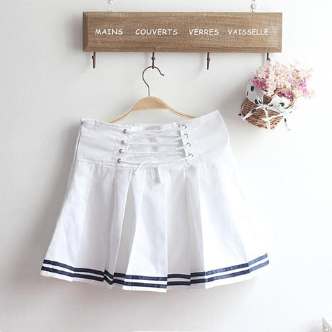 M-XL Beige/Navy Long Sleeve Sailor Top with Skirt Uniform Set SP153608 - SpreePicky  - 8