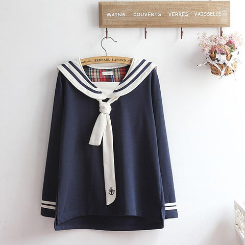 M-XL Beige/Navy Long Sleeve Sailor Top with Skirt Uniform Set SP153608 - SpreePicky  - 5