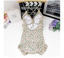 Load image into Gallery viewer, M-XL Black/Pink/Green Pastel Floral One Piece Swimming Suit SP166947