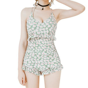 M-XL Black/Pink/Green Pastel Floral One Piece Swimming Suit SP166947