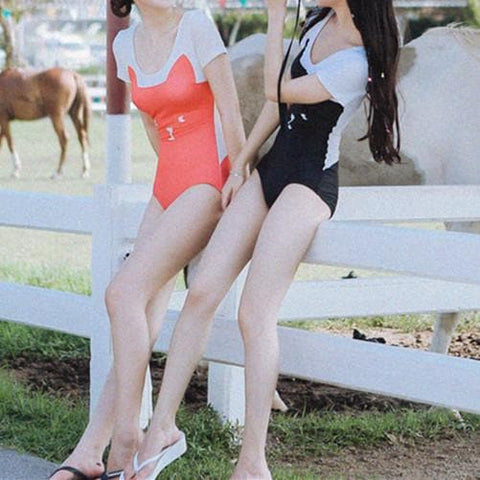 M-XL Black/Red Kitty One Piece Swimsuit SP166867