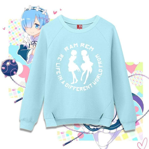 M-XL Re: Zero -Starting Life in Another World- Rem Ram Pullover Jumper SP168328