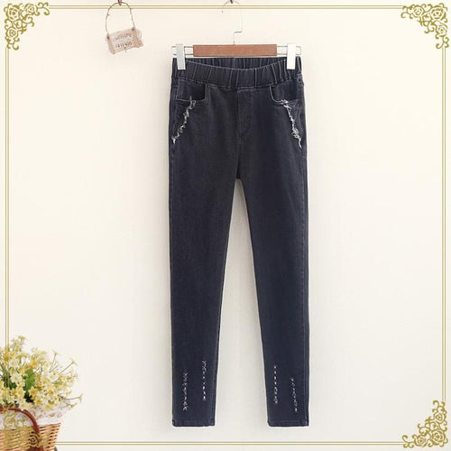 M/L/XL Black/Deep Mori Girl Casual Jeans Pants SP168247