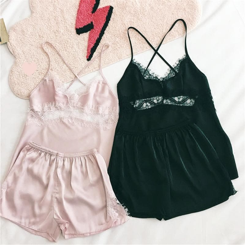 M/L/XL Black/Pink Kawaii Sexy Lace Homewear SP166874