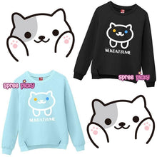 Load image into Gallery viewer, M/L/XL Blue/Black Neko Atsume Kawaii Pullover Jumper SP168407