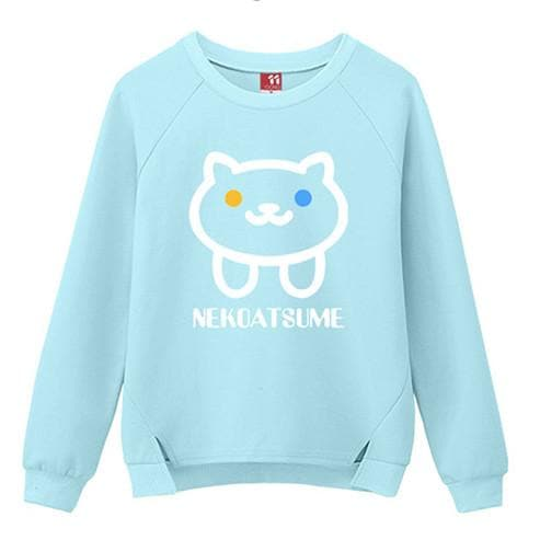 M/L/XL Blue/Black Neko Atsume Kawaii Pullover Jumper SP168407