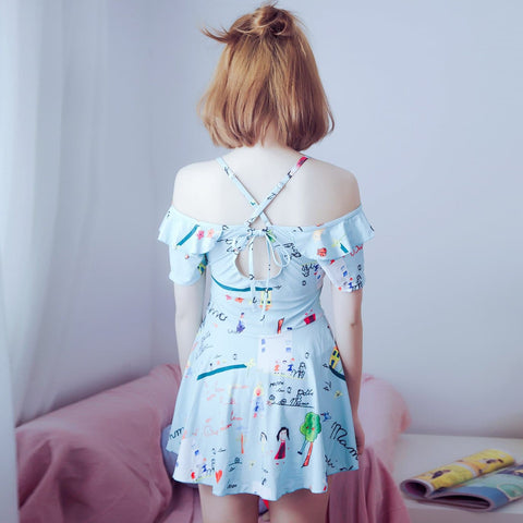 M/L/XL Blue Kawaii Cartoon Printing One-Piece Swimsuit SP165908