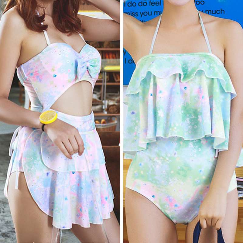 M-XL Green/Pink Pastel Hallow Out Two Pieces Swimsuit SP167360
