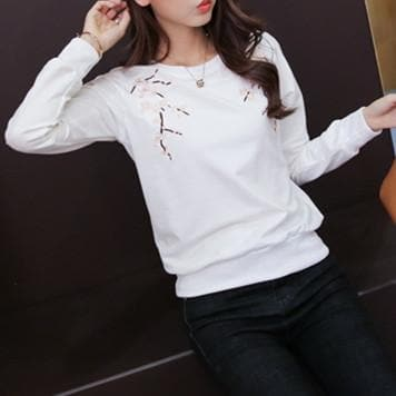M/L/XL Grey/White/Black Cherry Sakura Long Sleeve Shirt SP168211