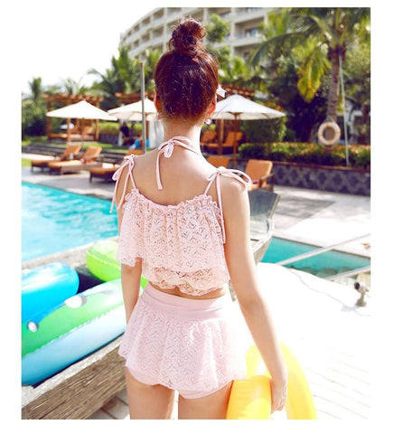 M/L/XL Light Yellow/Pink Sweet Three-Piece Bikini Swimming Suit SP165466
