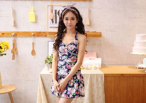 M/L/XL Navy Floral Halter One-piece Swimming Suit SP152002 - SpreePicky  - 4