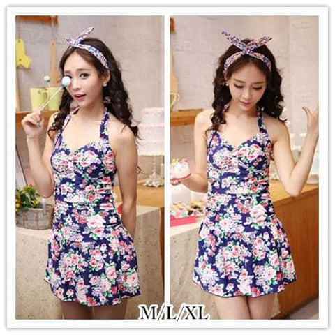 M/L/XL Navy Floral Halter One-piece Swimming Suit SP152002 - SpreePicky  - 1
