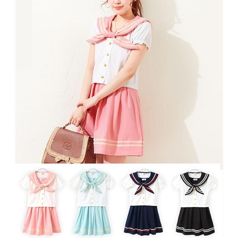 M/L 4 Colors Sailor Top + Skirt Set SP152519 - SpreePicky  - 1