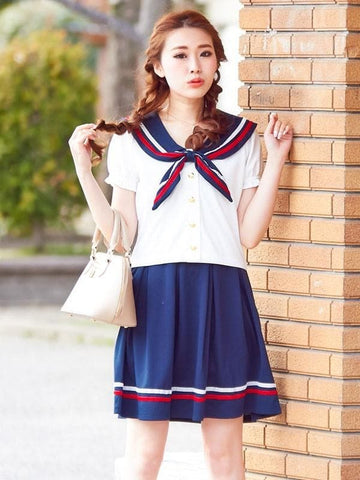 M/L 4 Colors Sailor Top + Skirt Set SP152519 - SpreePicky  - 3