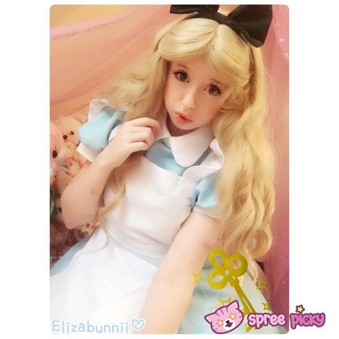 M/L [Alice In Wonderland] Blue Maid Dress With Apron Cosplay Costume SP141195