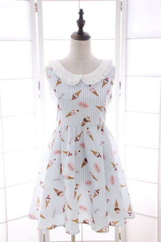 M/L Blue/Pink Lovely Ice-cream Pattern Stripe Sleeveless Summer Dress SP165848