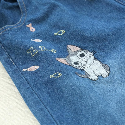 M/L Kawaii Cat Embroidery Jeans Pants SP168246