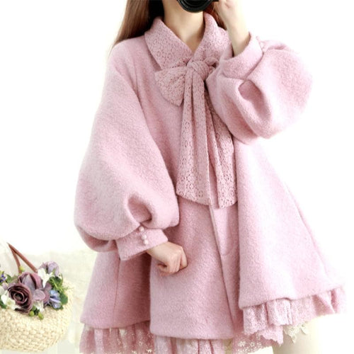 M/L Pastel Purple Sweet Puff Sleeve Midi Lace Woolen Coat SP168606