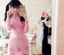 Load image into Gallery viewer, M/L Pink/Blue/Black Starwberry Chinese Dress SP154676 - SpreePicky  - 3